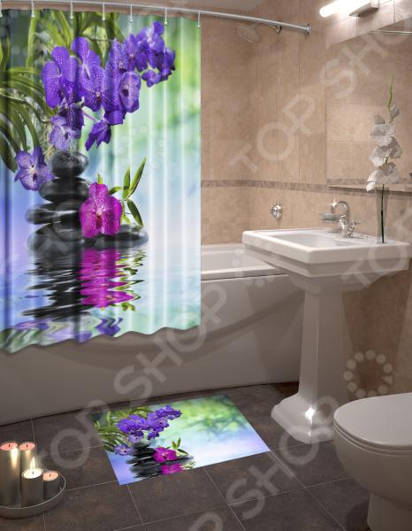 Набор для ванной комнаты: шторка и коврик ТамиТекс «Аура»