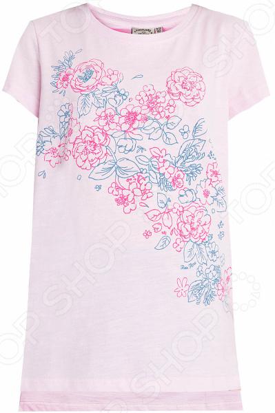 Футболка для девочки Finn Flare KS18-71046. Цвет: светло-розовый футболки и топы finn flare kids футболка для девочки kb17 71038