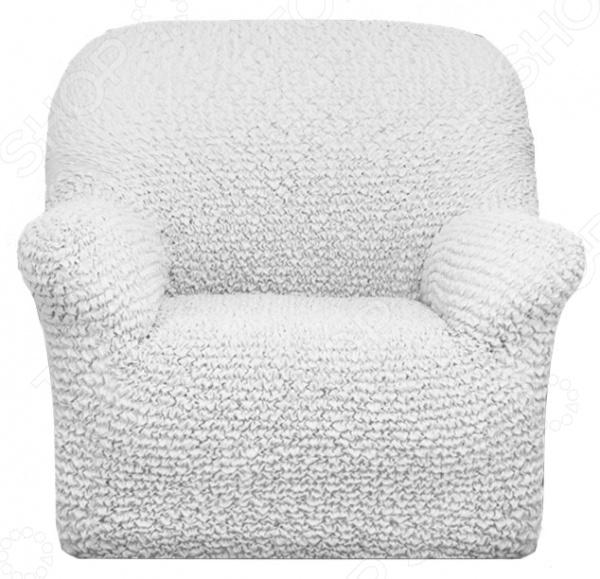 Zakazat.ru: Натяжной чехол на кресло Еврочехол «Микрофибра. Белый Жемчуг»