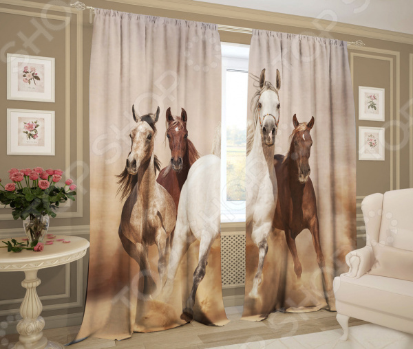 Фотошторы ТамиТекс «Лошади» шторы комнатные айлант об13
