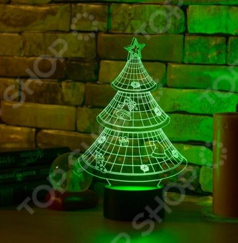 Светильник 3D «Новогодняя елочка»