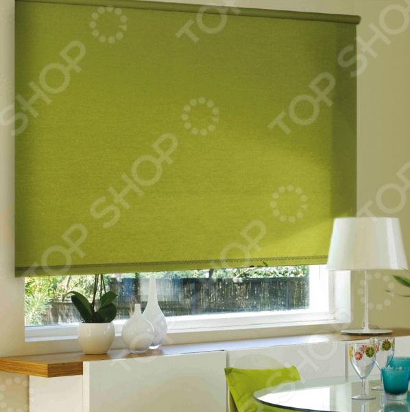 Рулонная штора Эскар однотонная. Цвет: темно-оливковый рулонная штора эскар однотонная цвет салатовый