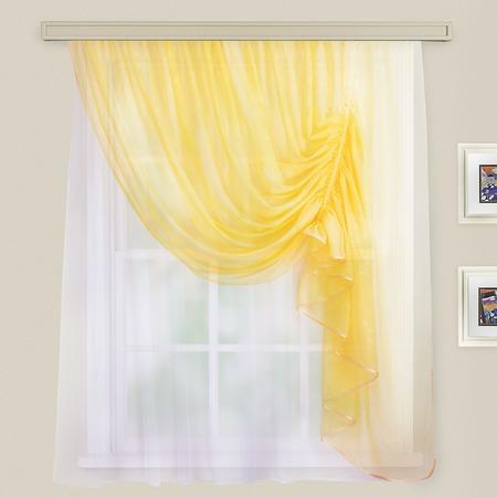 Купить Комплект штор для кухни WITERRA «Муза». Гардина правосторонняя. Цвет: светло-желтый