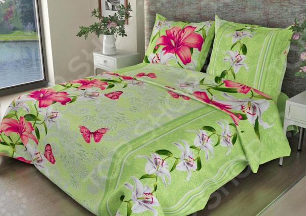 Zakazat.ru: Комплект постельного белья Fiorelly «Лилии». 1,5-спальный. Цвет: зеленый