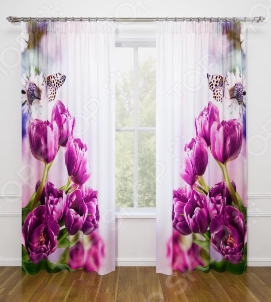 Фотошторы Стильный дом «Фиолетовые тюльпаны»