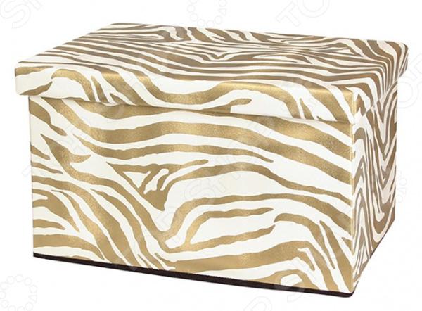 Пуф складной с ящиком для хранения EL Casa «Зебра золото» пуф складной с ящиком для хранения 53 33 31 см зебра 1135324