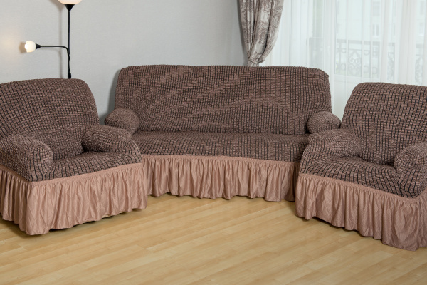 Натяжной чехол на трехместный диван и чехлы на 2 кресла Karbeltex «Модерн-металлик» с оборкой