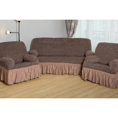 Купить Натяжной чехол на трехместный диван и чехлы на 2 кресла Karbeltex «Модерн-металлик» с оборкой