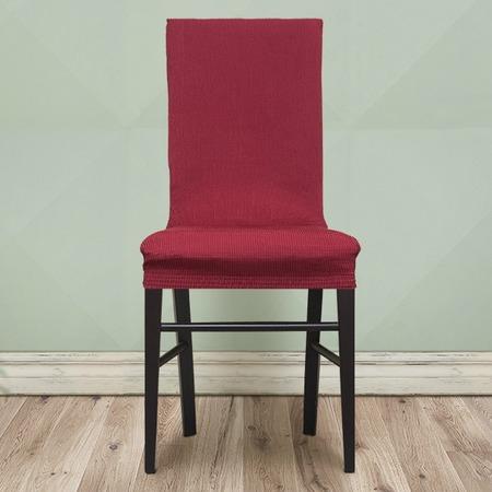 Комплект натяжных чехлов на стул Еврочехол «Рустика». Цвет: бордовый