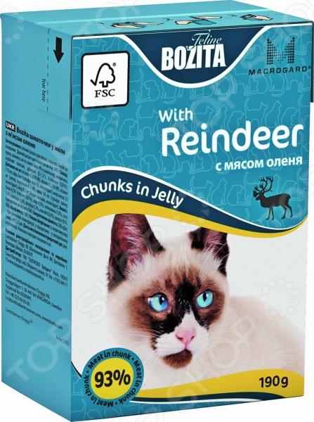 Корм консервированный для кошек Bozita Chunks in Jelly with Reindeer Mini бозита мини консервы кусочки в соусе с мяcным коктейлем для кошек bozita mini feline chunks in sauce with meat mix 190 г