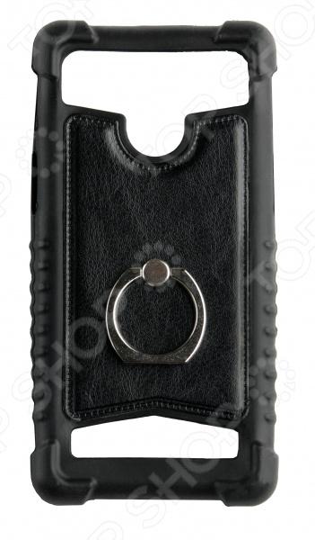 """Бампер универсальный с кольцом skinBOX для смартфона. Диагональ дисплея: 5.5"""""""