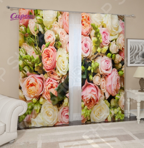 Фотошторы Сирень «Букет француских роз» картины сирень картина ароматный букет