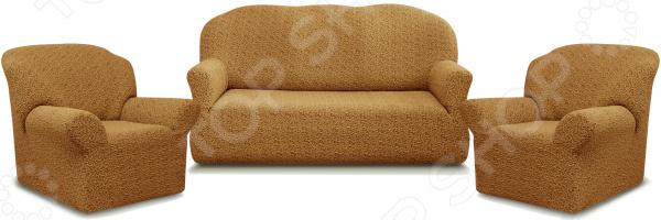 Натяжной чехол на трехместный диван и чехлы на 2 кресла Karbeltex «Престиж» 10054
