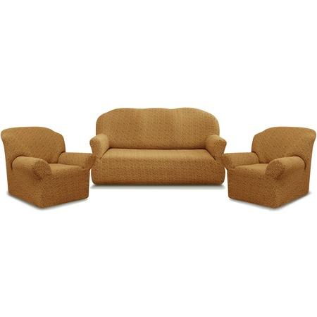 Купить Натяжной чехол на трехместный диван и чехлы на 2 кресла Karbeltex «Престиж» 10054