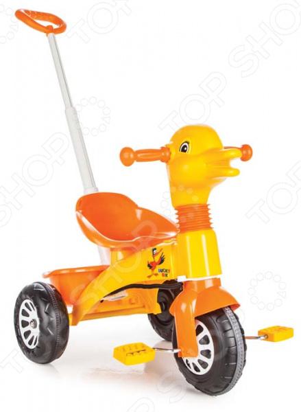 Велосипед трехколесный PILSAN Ducky с регулируемой ручкой в пакете. В ассортименте трехколесный велосипед pilsan ducky с родительской ручкой цвет зелено оранжевый 07 141