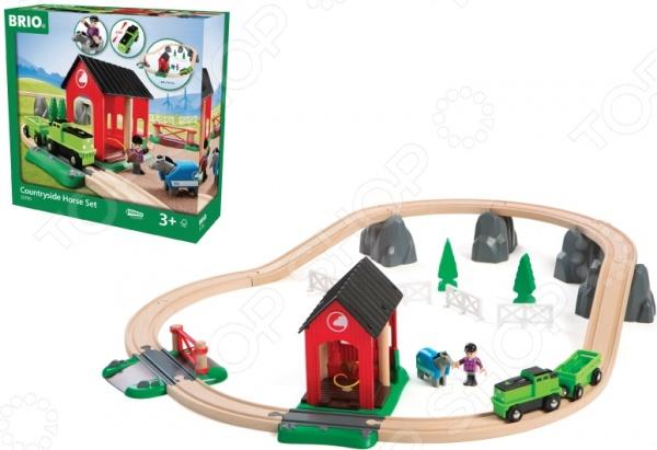 Набор железной дороги игрушечный Brio с лошадкой и домиком «Кантри»