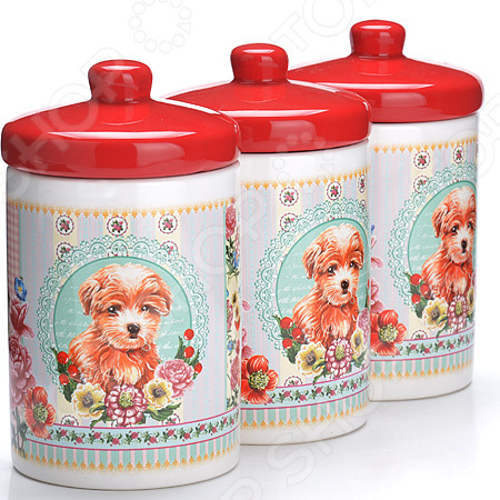 набор банок для сыпучих продуктов loraine красный узор 400 мл 3 шт 25862 Набор банок для сыпучих продуктов Loraine LR-27204