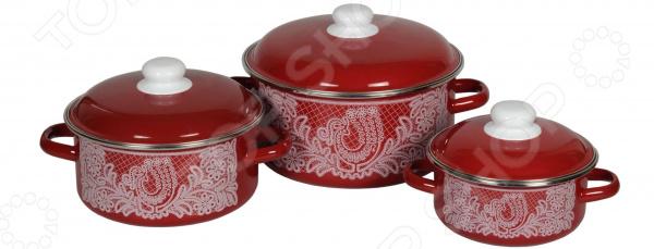 Набор посуды Стальэмаль «Вологодское кружево» кастрюля стальэмаль вологодское кружево 1 5 л
