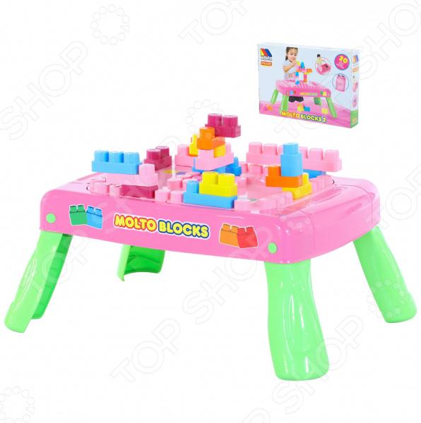 Столик с конструктором POLESIE Molto Blocks. Количество элементов: 20 Столик с конструктором POLESIE Molto Blocks /Розовый