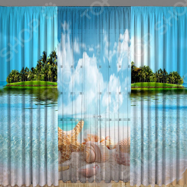 Комплект фотоштор с тюлем ТамиТекс «Южный материк»