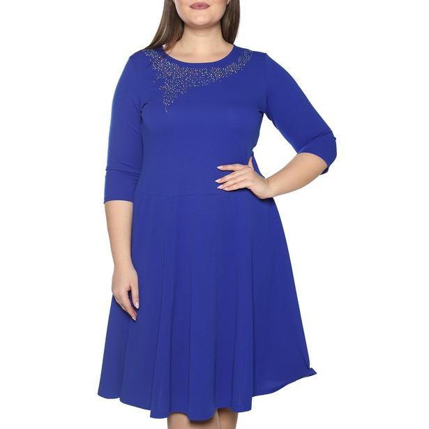фото Платье Blagof «Сияние сердца» с мерцающим декором. Цвет: васильковый. Размер одежды: 64