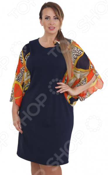Платье СВМ-ПРИНТ «Цезария». Цвет: синий, оранжевый блуза zarina zarina za004ewysu26