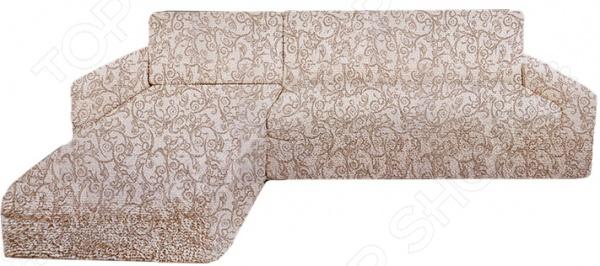 Натяжной чехол на угловой диван с выступом слева Еврочехол «Виста. Антея»
