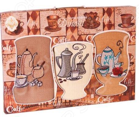 Комплект из 3-х кухонных полотенец Dinosti «Кофейники»