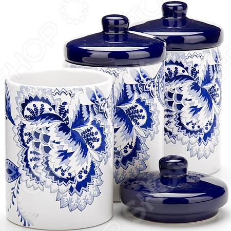 Набор банок для сыпучих продуктов Loraine «Гжель» набор банок для сыпучих продуктов loraine бабочки 6 предметов 25633