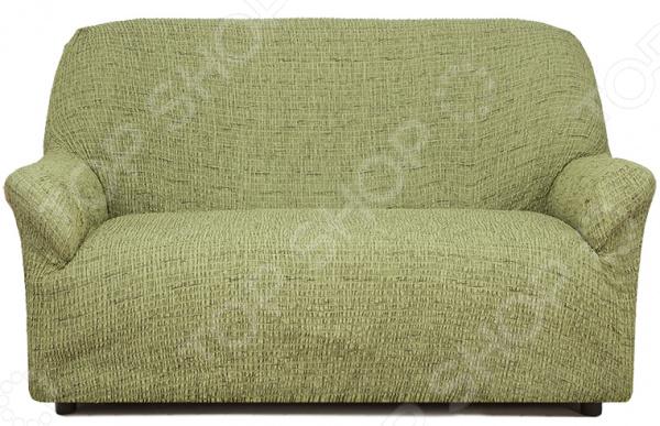 Натяжной чехол на двухместный диван Еврочехол «Плиссе. Фисташковый»