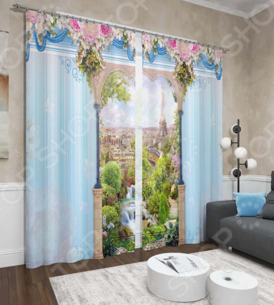 цена на Фотошторы Сирень «Париж из окна»