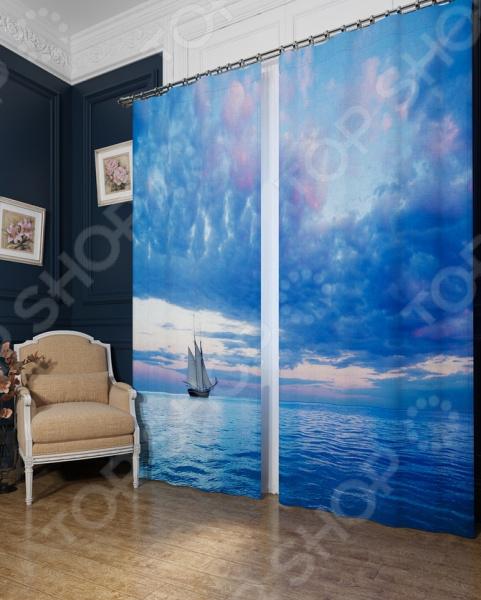 Фотошторы блэкаут Сирень «Парусник в голубом море»