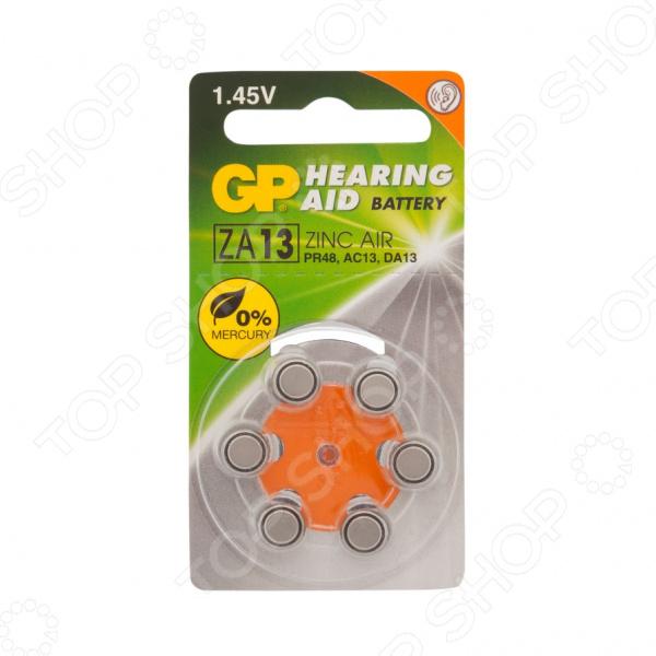 Набор батареек-таблеток воздушно-цинковых GP Batteries ZA13 набор батареек gp batteries для слуховых аппаратов тип za13 6 шт
