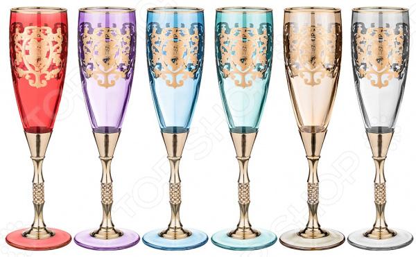 Набор бокалов для шампанского ART DECOR «Позитано микс» 326-062 набор бокалов crystalex джина б декора 6шт 210мл шампанское стекло
