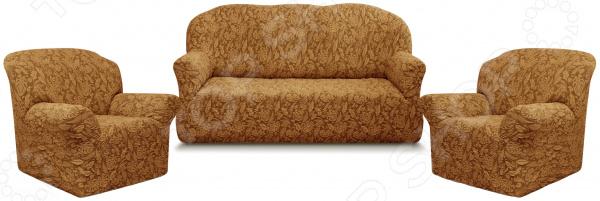 Натяжной чехол на трехместный диван и чехлы на 2 кресла Karbeltex «Престиж» 10027 с оборкой
