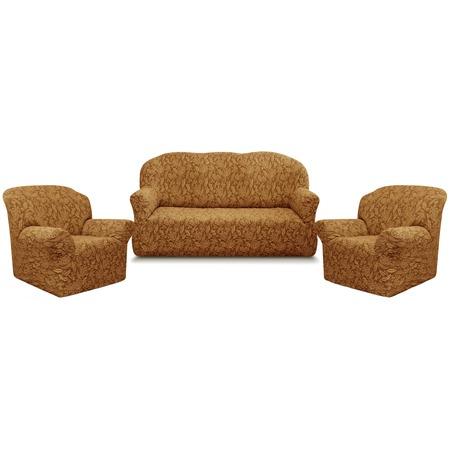 Купить Натяжной чехол на трехместный диван и чехлы на 2 кресла Karbeltex «Престиж» 10027 с оборкой