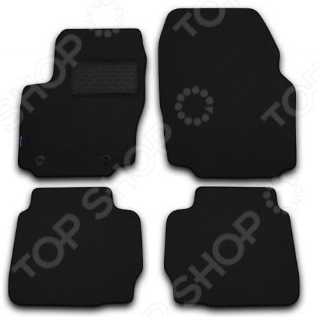 Комплект ковриков в салон автомобиля Novline-Autofamily Nissan Qashqai+2 2008 кроссовер. Цвет: черный