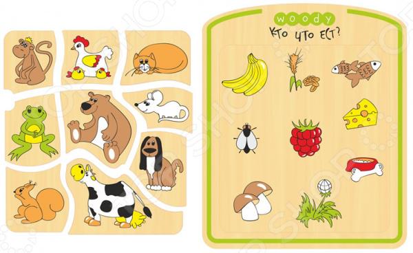 Игра развивающая WOODY «Рамка-вкладка: Кто что ест?»