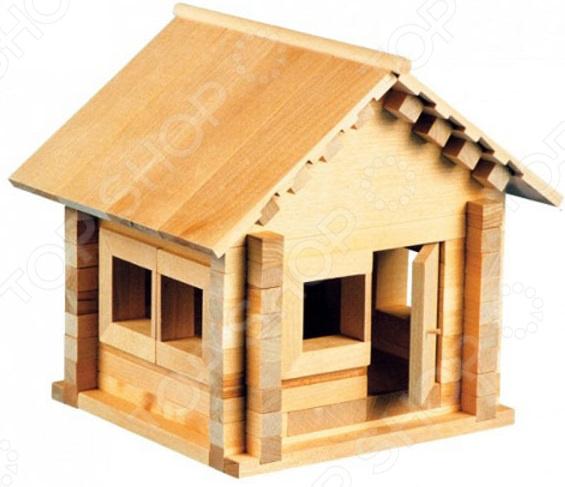 Конструктор деревянный со светом Теремок «Избушка: Теремок с куклой и мебелью»