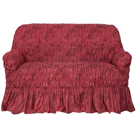 Купить Натяжной чехол на двухместный диван Еврочехол «Фантазия. Вишня»