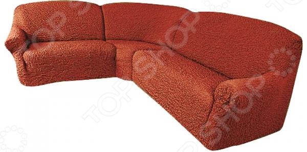 Натяжной чехол на классический угловой диван Еврочехол Еврочехол «Микрофибра. Терракотовый»