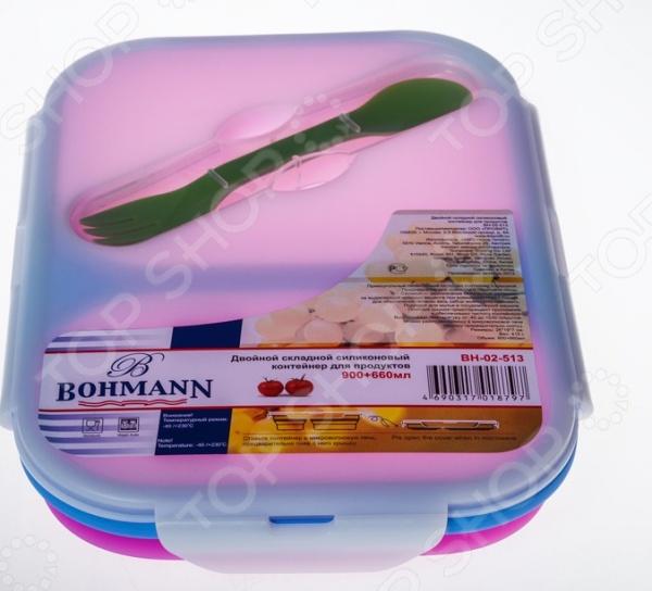 Ланч-бокс Bohmann ВН-02-513 это удобный контейнер, который сделан из силикона. Чаша идеально подходит для длительного хранения продуктов в холодильнике, обеспечивает отличную герметичность и плотное прилегание крышки. При необходимости чашу из силикона можно стерилизовать или помыть в посудомоечной машине. Если вы собираетесь разогреть еду в микроволновой печи, то прежде следует снять крышку. Контейнер легко моется и не впитывает запах продуктов.
