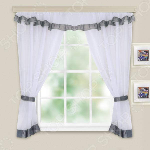 Комплект легких штор WITERRA «Акцент». Цвет: белый, серый