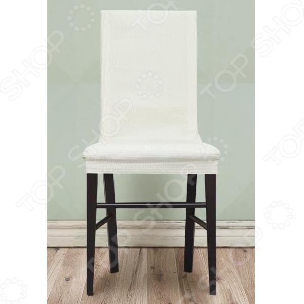 Комплект натяжных чехлов на стул Еврочехол «Рустика». Цвет: белый 2