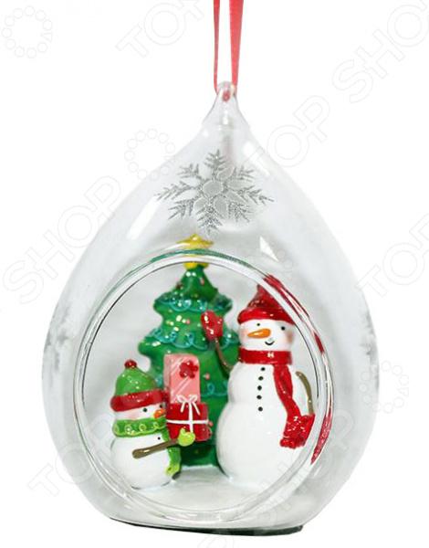 Елочное украшение Crystal Deco «Украшение подвеска Снеговики вокруг елки»