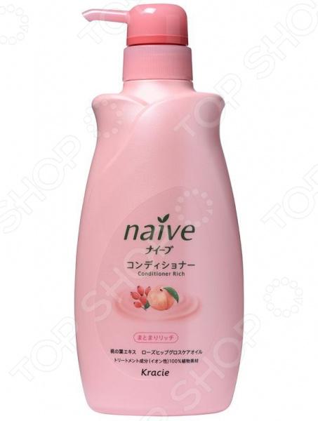 Бальзам-ополаскиватель для сухих волос Kracie Naive с экстрактом персика и шиповника в диспенсере
