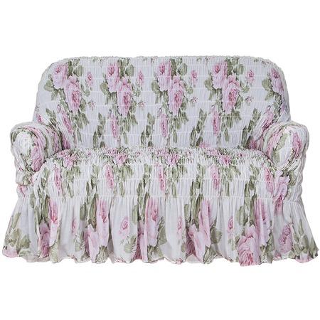 Купить Натяжной чехол на двухместный диван Еврочехол «Фантазия. Чайная роза»