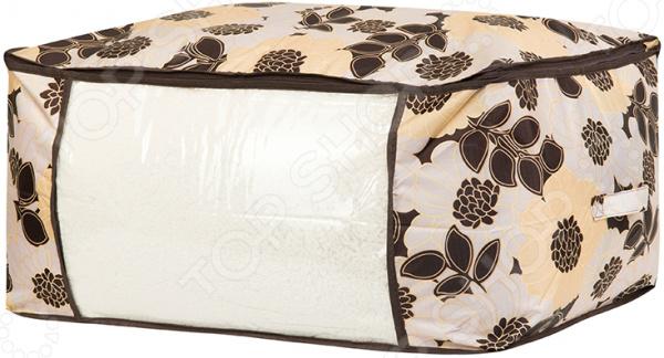 Кофр для хранения одеял и пледов EL Casa «Цветочное поле бежевое» кофр для хранения одеял и пледов el casa звезды цвет розовый 80 х 60 х 25 см