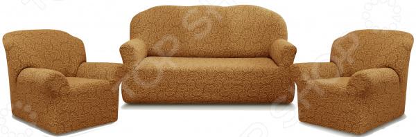 Zakazat.ru: Натяжной чехол на трехместный диван и чехлы на 2 кресла Karbeltex «Престиж» 10029