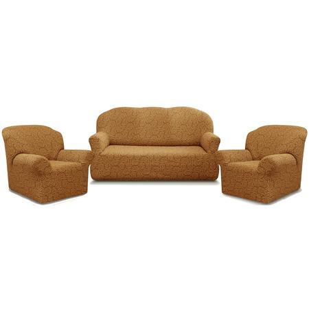 Купить Натяжной чехол на трехместный диван и чехлы на 2 кресла Karbeltex «Престиж» 10029